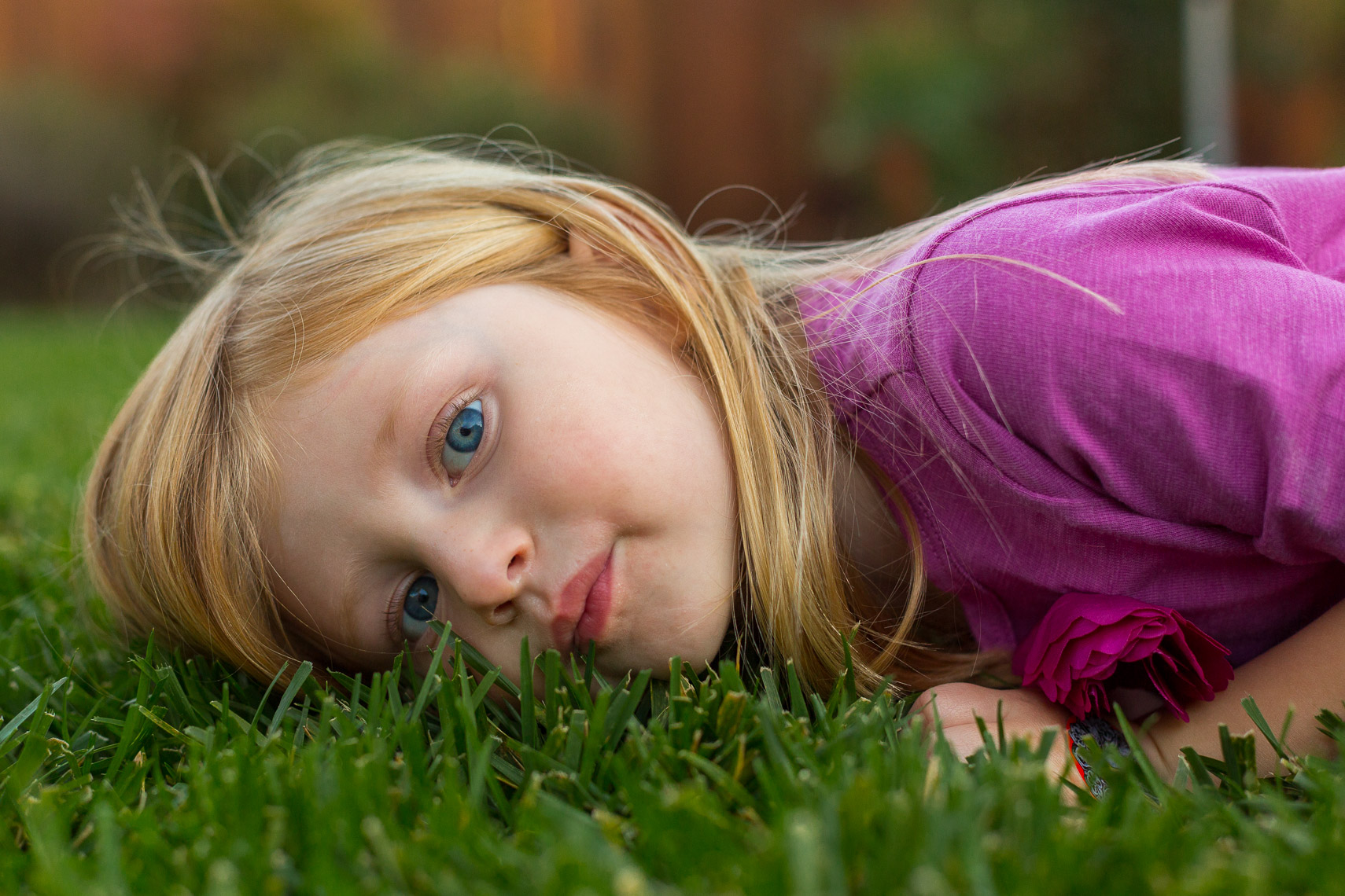 Girl Playing Grass