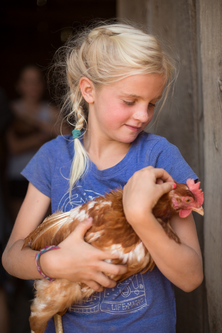 Girl Chicken Portrait